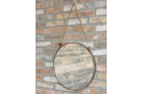 Brass Metal Framed Round Mirror